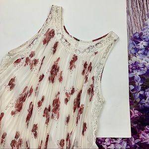 White Free People Floral Pleated Mini Dress Large